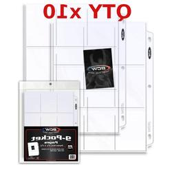 9 Pocket Pages BCW PRO Binder Cards / Coupon Sleeves with U