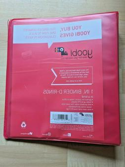 Yoobi 3 D-Ring Binders | 1 Inch Size Red - Holds 275 Pages E