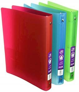 "3 Pk, Bazic 1"" Glitter Poly 3-ring Binder with Pocket 3128"