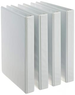 AmazonBasics 3-Ring Binder 4-Pack White 1-Inch