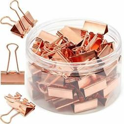 50Pack 1in Rose Gold Binder Paper Clips Clamps File Clips Of