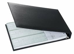 7-Ring 3-on-a-Page Business Check Book Binder - Black *NEW