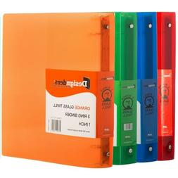 Assorted 4-Pack Plastic 3 Ring Binders - 1 Inch - 4 per pack