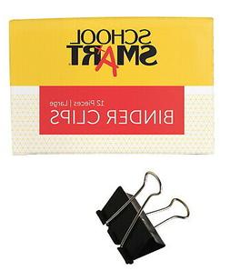 School Smart Binder Clip, Large, 2 Inches, Pack of 12