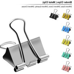 Binder Clips of 3/4 5/4 2 in, Colored paper clamp, Assorted