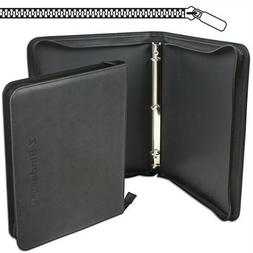 BCW BLUE Gaming Card Z-Folio Zippered LX Leatherette Album with 12 Pocket Page
