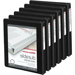 Office Depot Brand Durable Round-Ring View Binders, 6-Pack