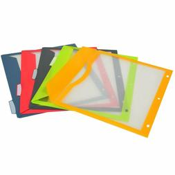5-Tab Binder Pockets with Write-On Index Tabs, Assorted Colo
