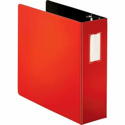 """Business Source Slanted D-Ring Binders, 4"""" Capacity, Red"""