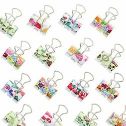 Juvale Colored Binder Clips - 48-Pack Paper Clamps, Binder C