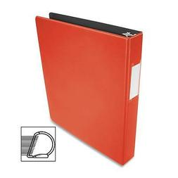 "Business Source D-Ring Binder w/Label Holder Hvy-Dty 1"" Red"