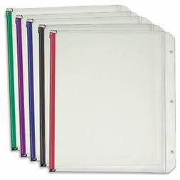 Expanding Zipper Binder Pocket, 11 x 8 1/2, Assorted, 5/Pack