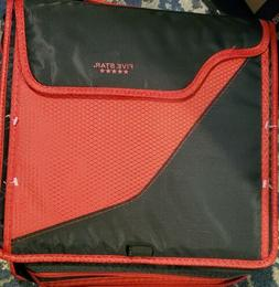 Mead five star zipper binder With Strap Black/Red