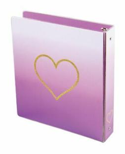 """Divoga® Hearts Round-Ring Fashion Binders, 1"""" Rings, Pink O"""