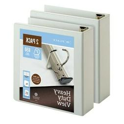 "Office Depot Heavy-Duty D-Ring View Binders, 3"" Rings, White"