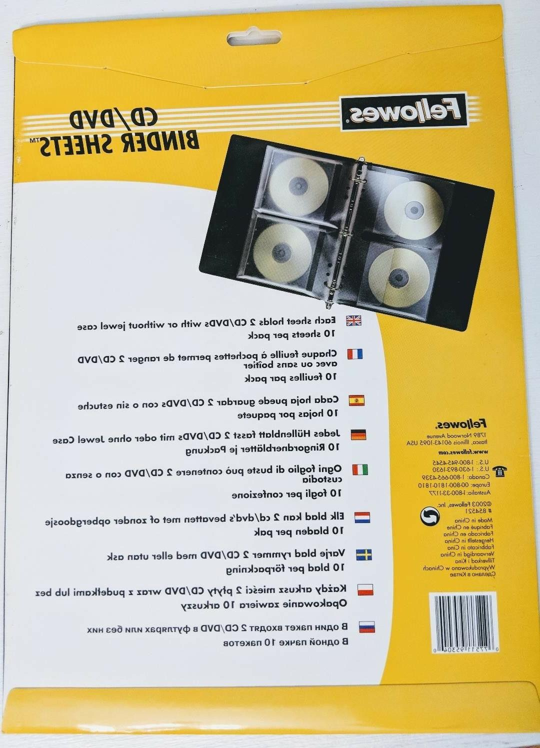 Fellowes CD/DVD Clear Binder Sheets, 10 No. 854521