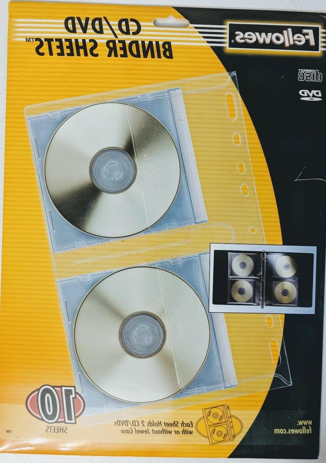 cd dvd clear binder sheets 10 qty