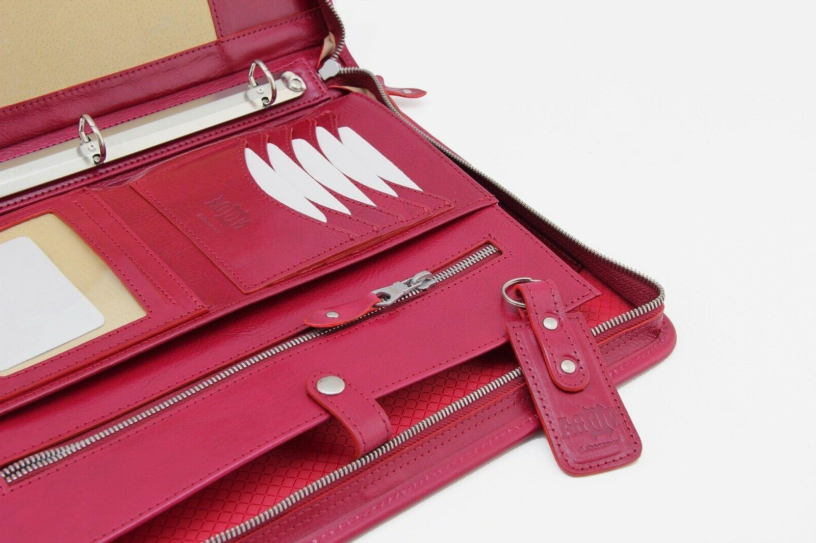 Leather case, binder red,