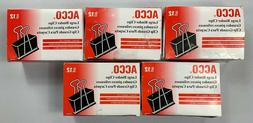 """Acco Large 2"""" Binder Clips 5 Count 12 Clips Per Box NEW JH"""