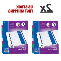 Lot of 2 - 3-Ring Binder Dividers with 10 Color Tabs File Fo