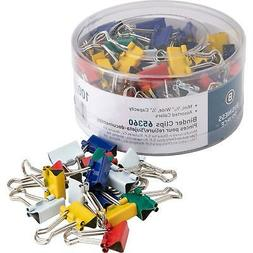 Business Source Mini Binder Clips - Pack of 100 - Assorted C