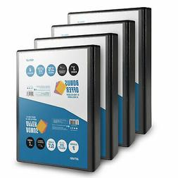 OS Plus 1 Inch, O-Ring Simple View Binder, Black, 4 Pack, Bo