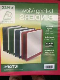 Tops Red Blue Green Black 1.5 in 3 D-Ring View binders 6 cou