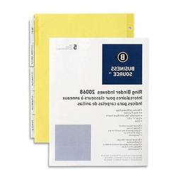 Business Source Ring Binder Index Divider - Blank - 5 Tab/se