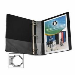 "Business Source Round Ring Binder, w/ Pockets, 1-1/2"", Black"