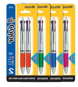 BAZIC Silver Top 4-Color Pen w/ Cushion Grip , Box Pack of 1