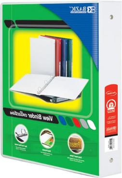 "BAZIC 1.5"" White 3-Ring View Binder w/ 2-Pockets"