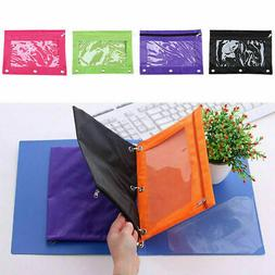 Zippered Binder Pen Pencil Pouch Case with 3 Holes Bag Schoo